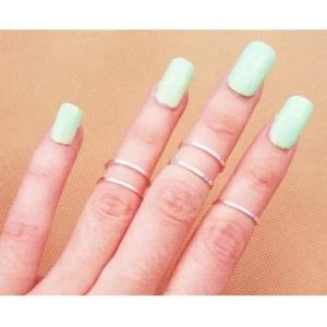 5pcs Silver Midi Rings